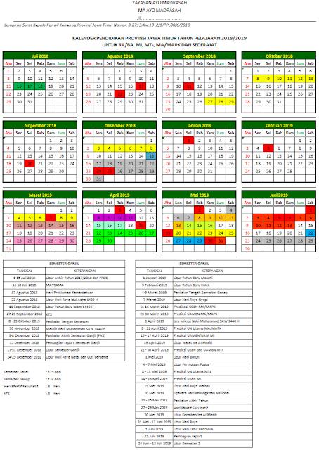 Kalender Pendidikan Kemenag 2018/2019 Provinsi Jawa Timur