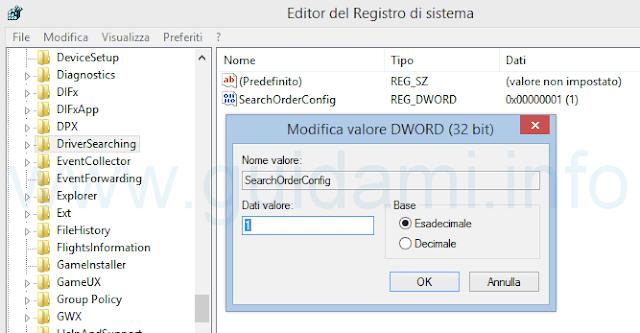 Registro di sistema disattivare installazione driver da Windows Update