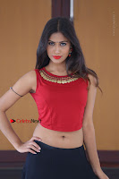 Telugu Actress Nishi Ganda Stills in Red Blouse and Black Skirt at Tik Tak Telugu Movie Audio Launch .COM 0359.JPG