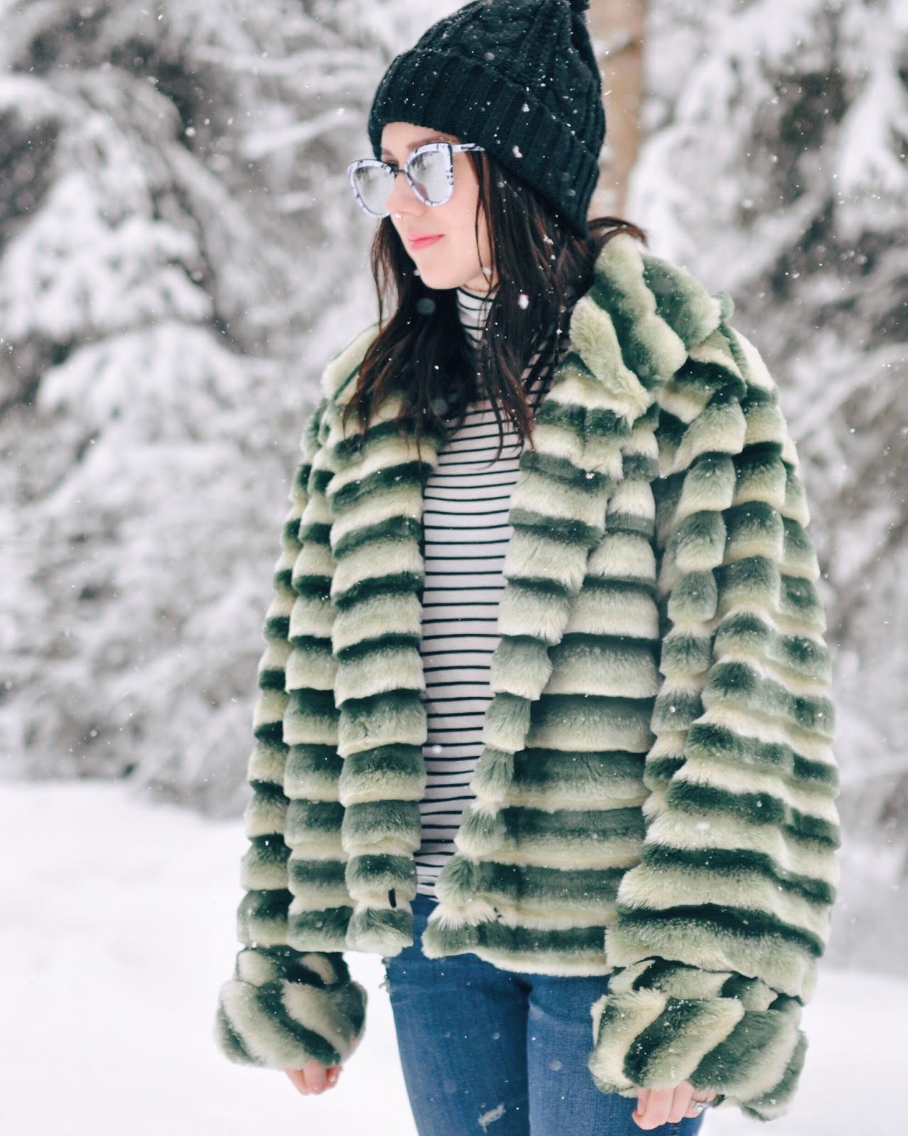 spring winter snow outfit stripes