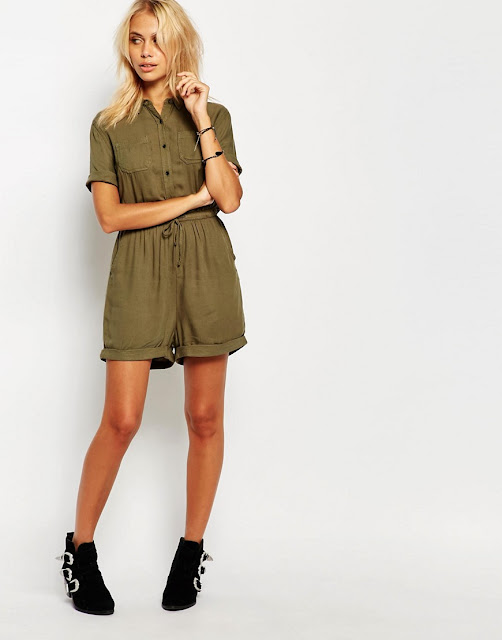superdry playsuit, short sleeve green playsuit, khaki playsuit,