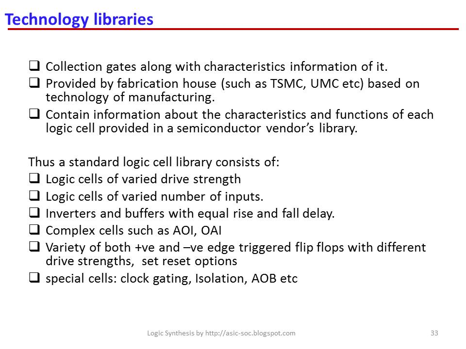 ASIC-System on Chip-VLSI Design: Technology libraries : lib