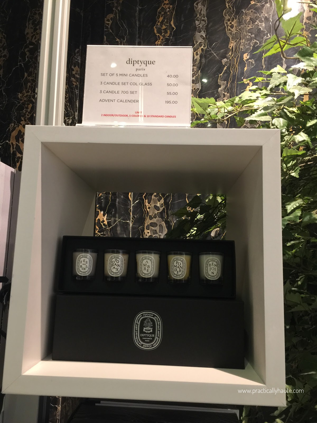 Diptyque sample sale candle set