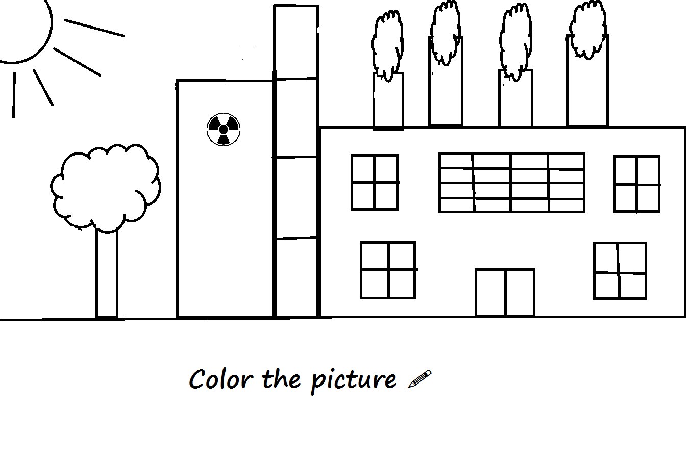 Devoted to the Earth: Air pollution coloring page- factory