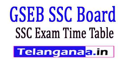 GSEB SSC Exam Time Table