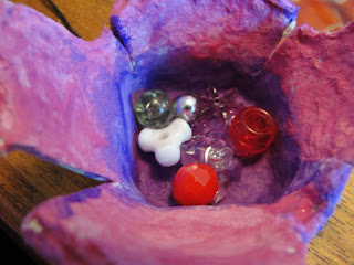 egg carton flower with beads