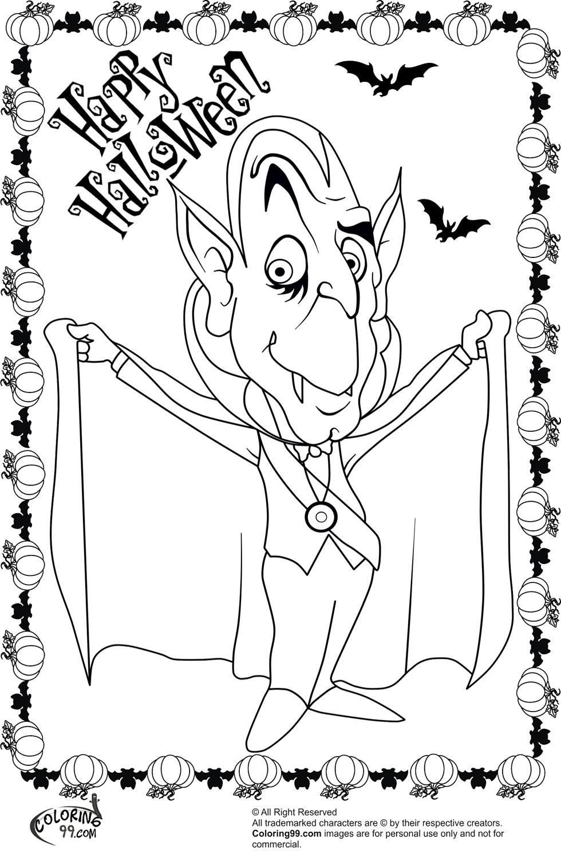 cartoon halloween coloring pages - halloween dracula coloring pages minister coloring