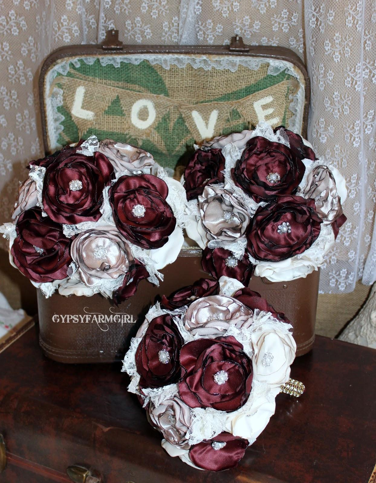 Gypsyfarmgirl vintage glam satin fabric wedding bouquets wine satin fabric wedding bouquets satin flower bridesmaid bouquets izmirmasajfo