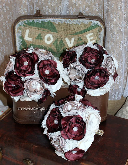 satin flower bridesmaid bouquets