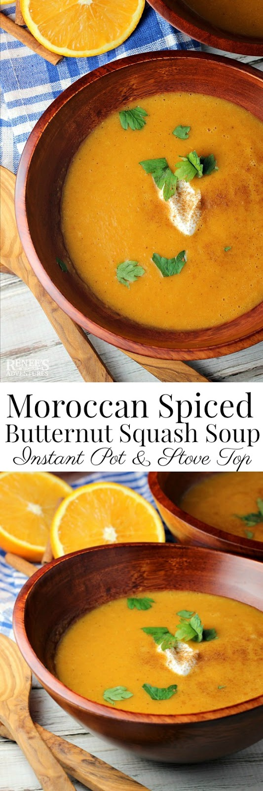 Instant Pot Moroccan Spiced Butternut Squash Soup - Renee's Kitchen Adventures - easy #weightwatchers #soup #recipe made in your #Instantpot So flavorful, you won't believe you're eating #healthy!