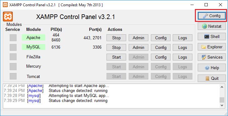 10. instalasi xampp control panel config