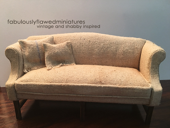 Miniature Dollhouse French Inspired 1:12 Scale Sofa With Tea Stained Fabric