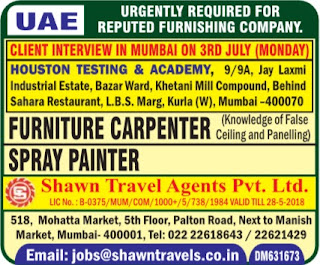 Furniture Carpentry jobs interview Mumbai India