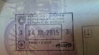 Sello Kosovo en pasaporte