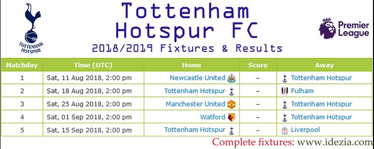 Baixar calendário completo PNG JPG Tottenham Hotspur 2018-2019