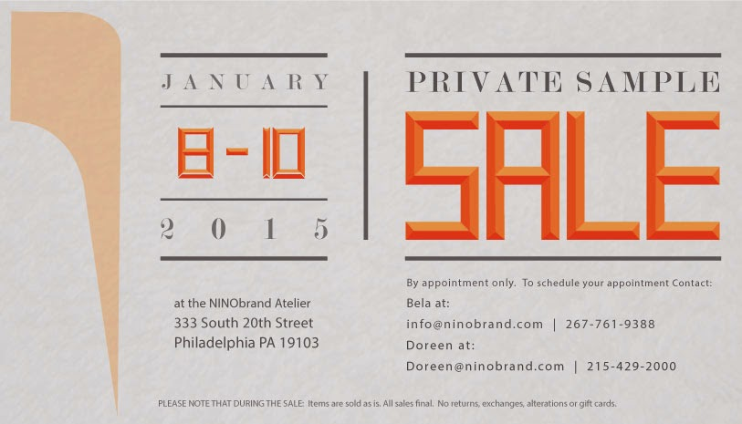 NINObrand Sample Sale January 2015