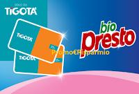 Logo Bio Presto ''Tenta la fortuna'' e vinci 600 Gift Card Tigotà da 25€