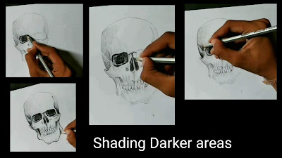 How to draw skull, step by step tutorial of skull, learn to draw skull, easy Drawing tutorial of skull, online drawing, drawing classes