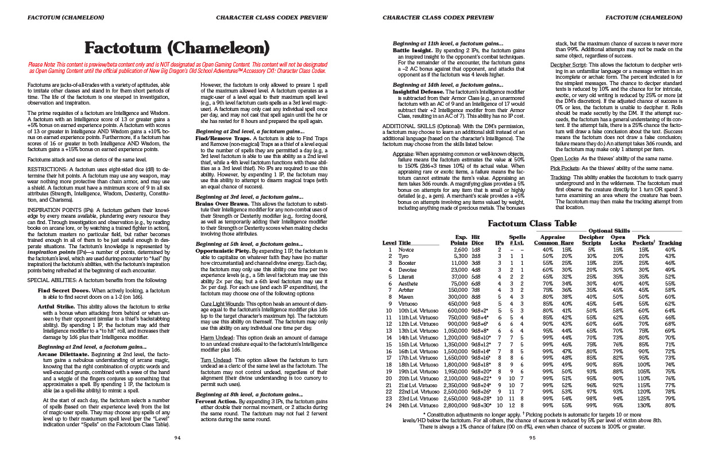 Save Vs  Dragon: New B/X Character Class: Factotum