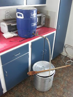 Batch sparging really doesn't look like much.