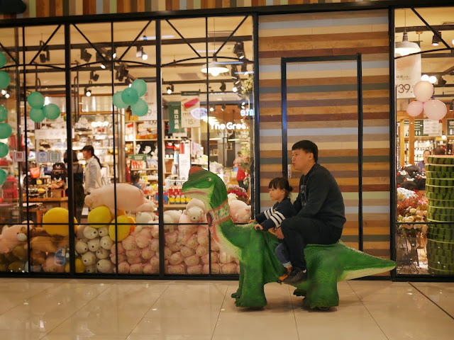 father and daughter riding an electric dinosaur kiddie car at the Mudanjiang Wanda Plaza