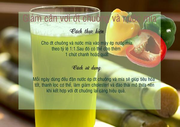 Cách làm Nước ép ớt chuông và mía giảm cân