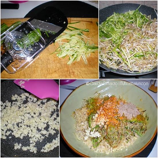Insalata di grano con zucchine e germogli di soia