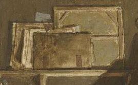 Alexandre-Evariste Fragonard (1780-1850), Visite dans l'atelier, Détail, Musée Magnin, Dijon.