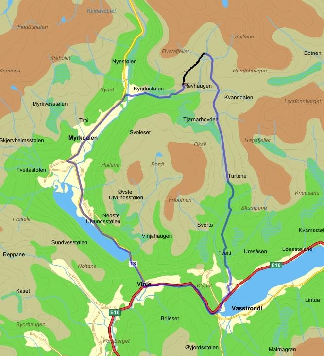 kart over myrkdalen Vossevangen CK: VCK's sykkelturtips kart over myrkdalen