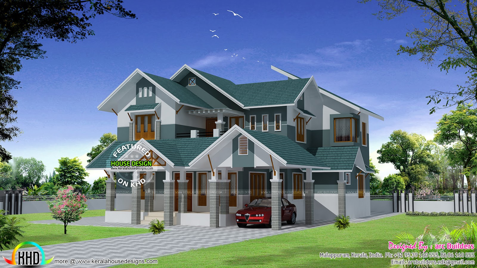 Sloping roof modern home design kerala home design and for Modern kerala style house plans with photos