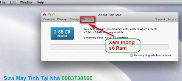 Xem cấu hình Ram Macbook