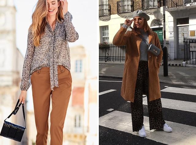 Брюки и пальто цвета camel с леопардовым принтом