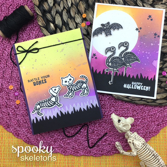 Halloween Cards by Jennifer Jackson | Spooky Skeletons Stamp set by Newton's Nook Designs #newtonsnook #handmade #halloween