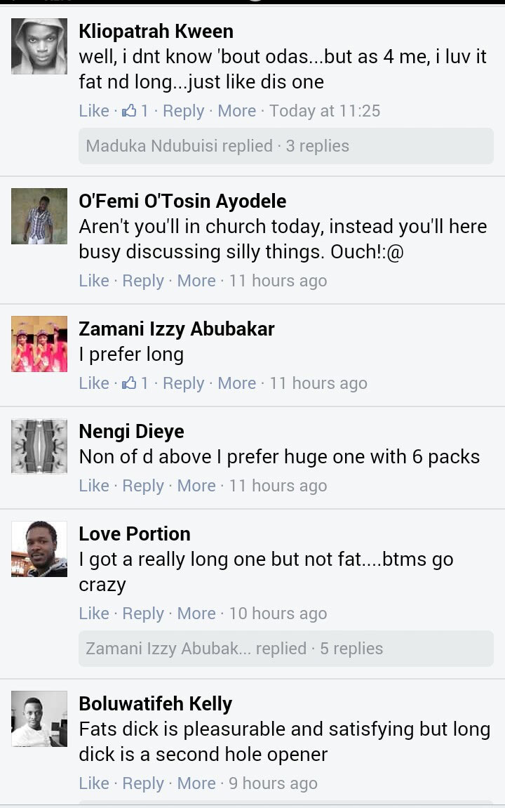 Do you prefer long or fat prick? See conversation of Nigerian gays
