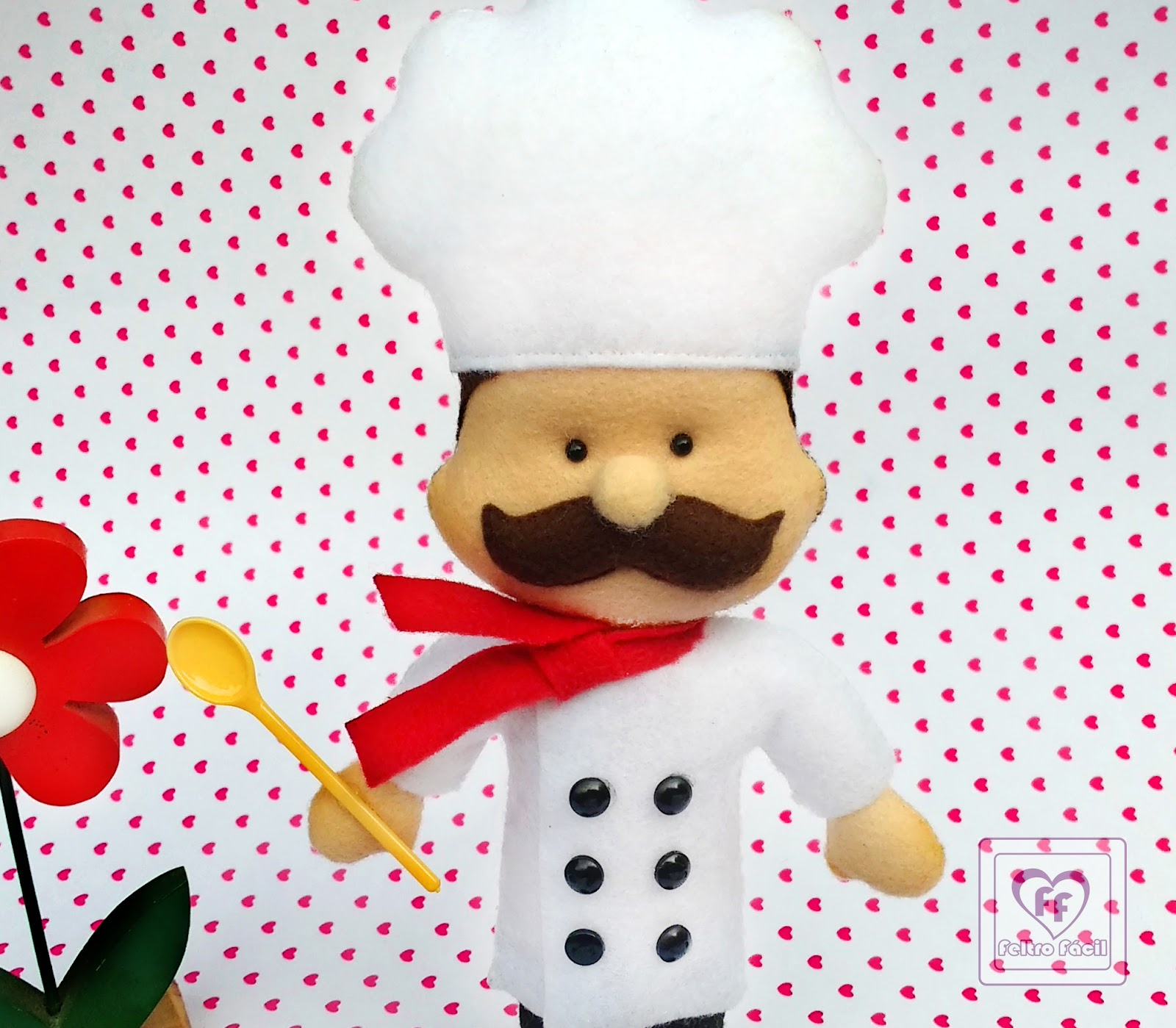 Feltro f cil moldes e apostilas chef de cozinha em feltro for Material para chef