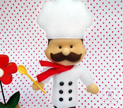 Molde de Cozinheiro Chef de Cozinha para Artesanato em Feltro