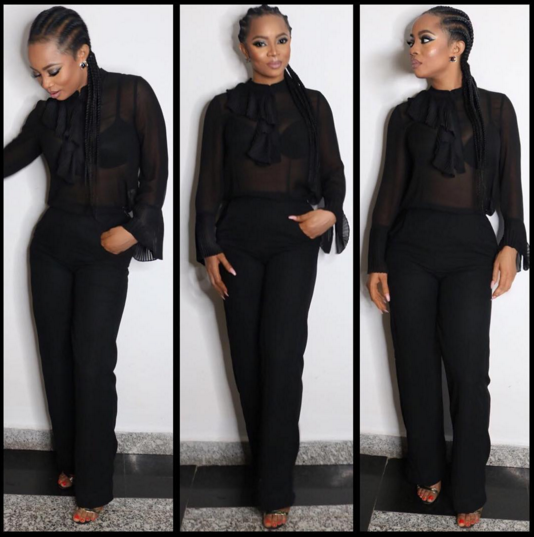 picture of Toke Makinwa in her black outfit.lol