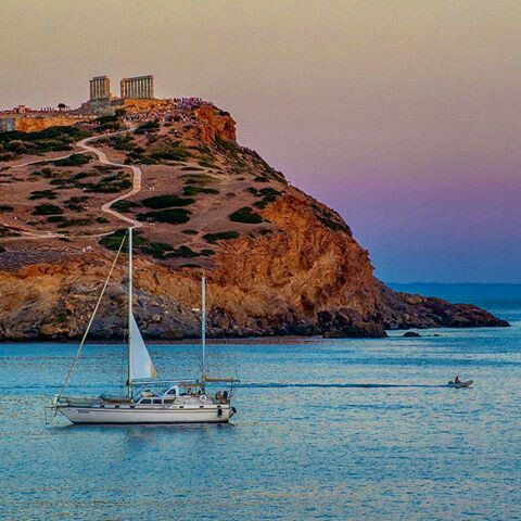 Temple of Poseidon, (God of the Sea), at Cape Sounion  South of Athens, Greece. Photo: National Geographic