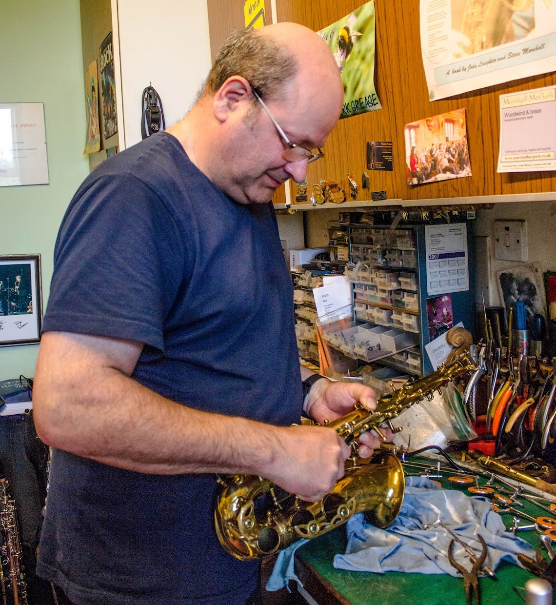 Steve working on a sax