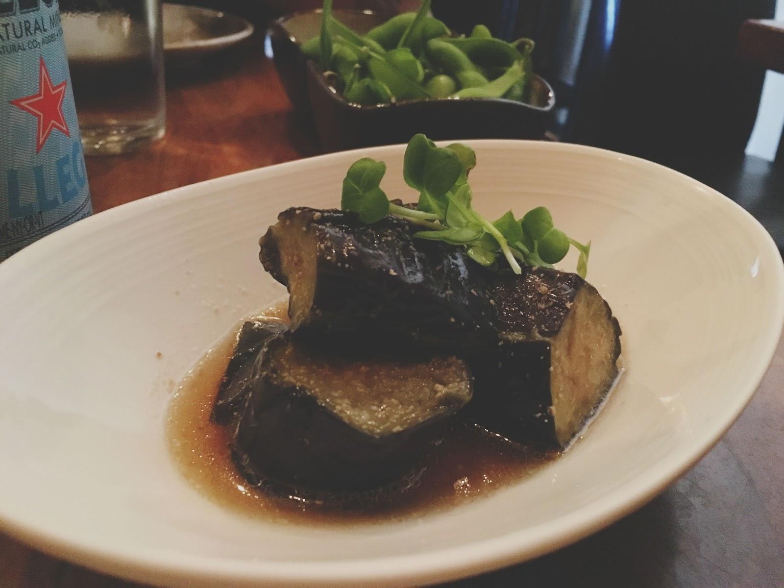eggplant appetizer at Saru Sushi - a restaurant in San Francisco