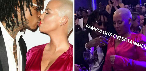 WHAO! Are they back together? Amber Rose and ex Wiz Khalifa spotted kissing at pre-grammy event