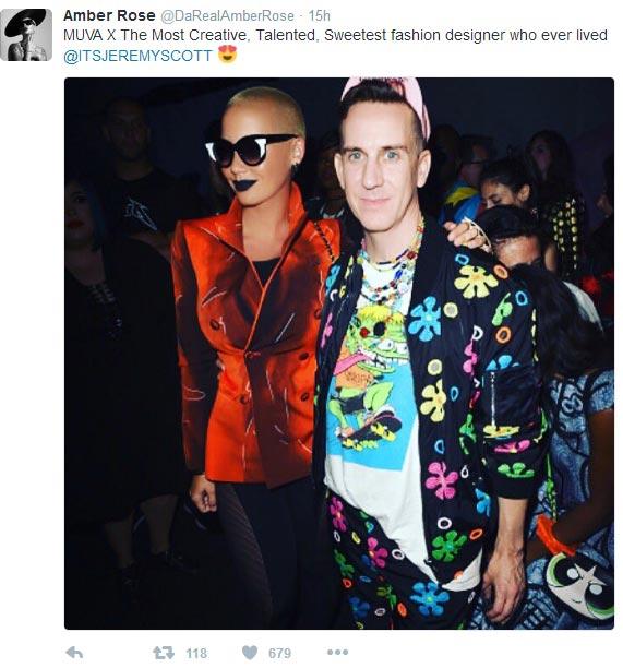 """Amber Rose calls Jeremy Scott the """"most talented fashion designer ever lived"""""""