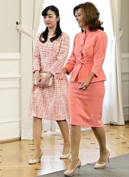 Princess Kako met with Chancellor of Austria Brigitte Bierlein at the Austrian Chancellery in Vienna. she wore a pink dress