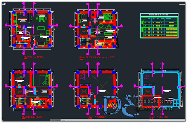 Single-family housing sanitary architecture electrical structures in AutoCAD
