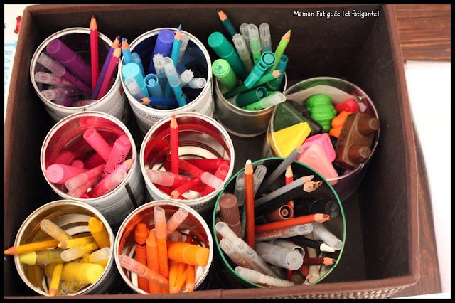 rangement materiel créatif feutre crayon