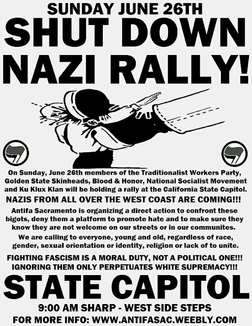 Poster advertising a counter protest, which devolved into a melle in Sacramento, California (June 26, 2016)