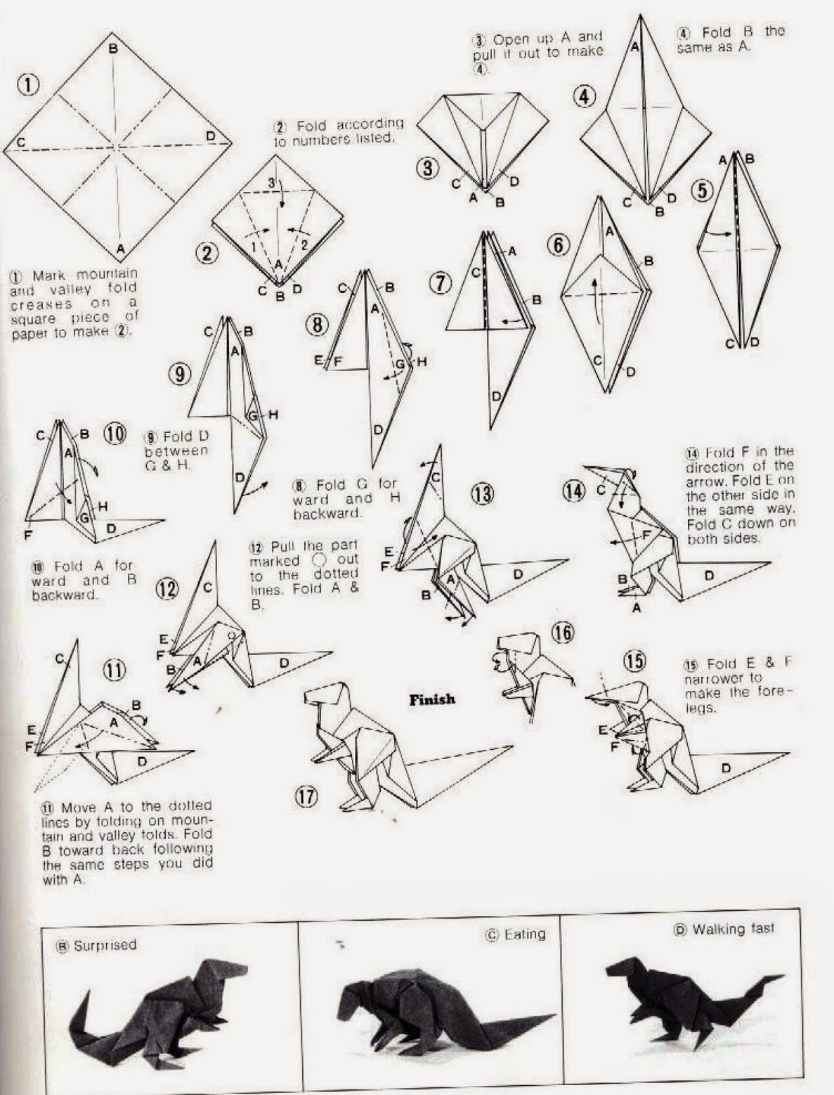 Easy Origami Dragon Printable Instructions