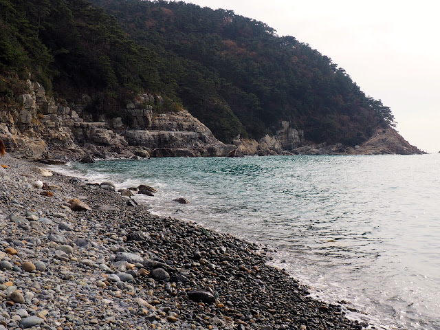Pebble beach in Taejongdae Park, Busan, South Korea