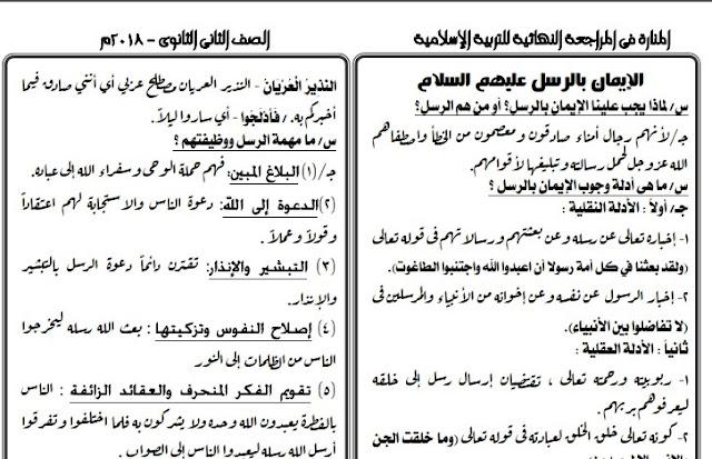 تلخيص تربية اسلامية لامتحان الوزارة