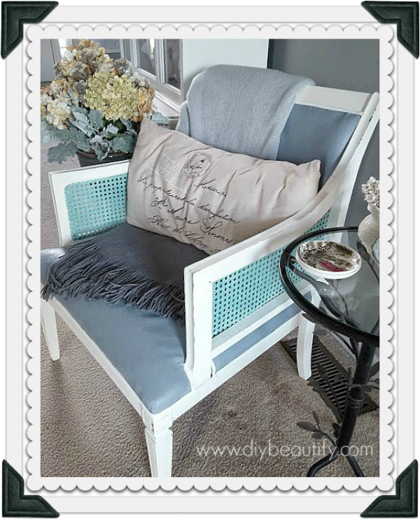 A vintage chair gets a chalk paint makeover at www.diybeautify.com